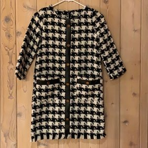 Blk/Wht Houndstooth Dress w faux Leather accents S